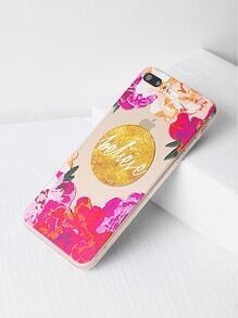 Flower Print Clear iPhone 7 Plus Case