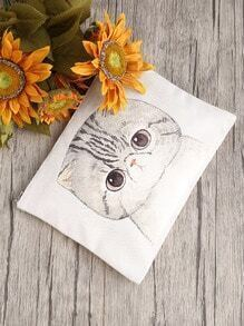 Cat Print Clutch Bag With Zipper