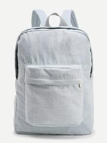 Zipper Front Denim Backpack With Pocket