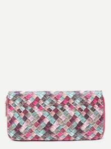 Zipper Detail Patchwork PU Wallet