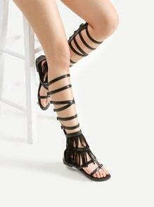 Buckle Strap Gladiator Sandals With Fringe