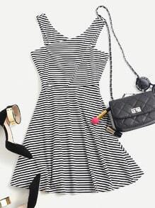 Criss Cross Fit & Flare Striped Dress