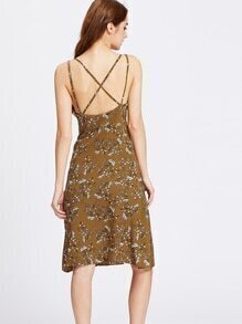 Botanical Print Strappy Back Below The Knee Dress