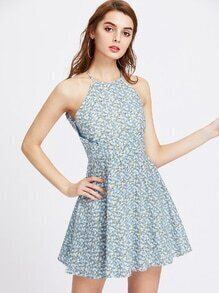 Halter Surplice Detail Ditsy Print Dress