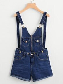 Zip Up Front Cuffed Chambray Pinafore Playsuit