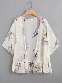 Floral Print Frill Hem Chiffon Kimono