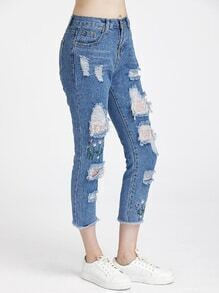 Floral Embroidered Distressed Fray Hem Crop Jeans