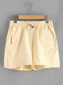 Elastic Drawstring Waist Shorts
