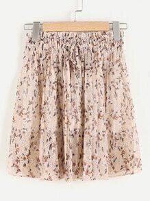 Falda de gasa de cintura con cordón con estampado de margarita de los prados al azar