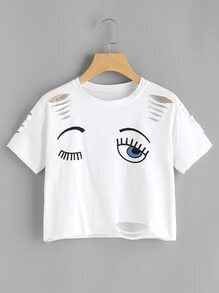 Eye Print Cut Out Ripped Tee