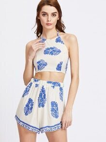 Printed Random Open Back Bow Tie Crop Top With Shorts