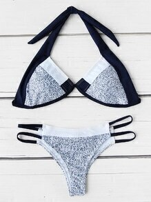 Ladder Cutout Triangle Bikini Set