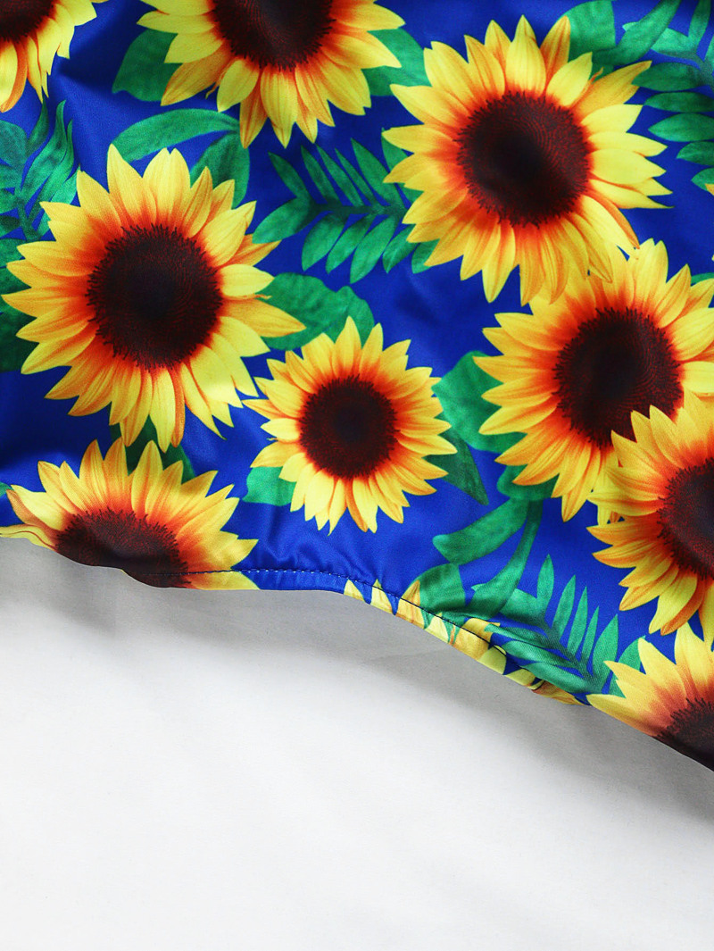 92dc4b91c9d Sunflower Print Scoop Neck Swimsuit | ROMWE