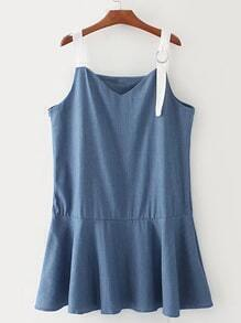 Ruffle Hem Denim Cami Dress With Ring Detail