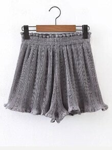 Elastic Waist Ruffle Hem Shorts
