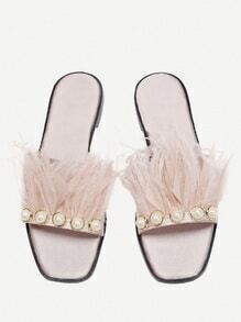 Faux Pearl And Fur Decorated Slides