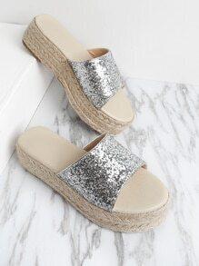 Glitter Design Woven Flatform Sandals