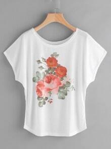 Floral Print Cap Sleeve Tee