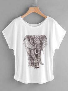 Camiseta con estampado de elefante de manga de casquillo