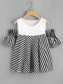Open Shoulder Contrast Striped Blouse