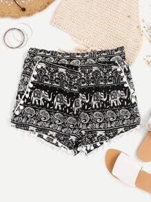 Shorts con estampado azteca con bolitas