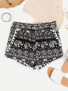 Aztec Print Pom Pom Trim Shorts