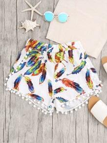 Feather Print Pom Pom Trim Shorts