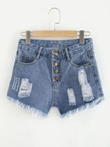 Distressed Single Breasted Fray Hem Shorts