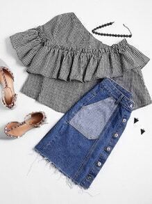 Patch Pocket Single Breasted Fray Hem Chambray Skirt