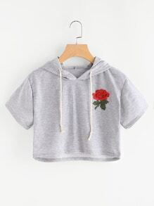 Hooded Rose Patch Crop Sweatshirt