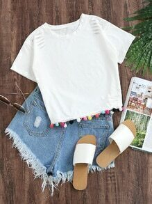 Cut Out Ripped Pom Pom Hem Tee