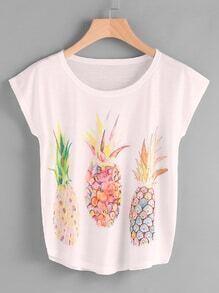 Cap Sleeve Pineapple Print Tee