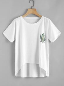 Cactus Embroidered Dip Hem Tee