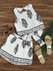 Aztec Printed Bow Open Back Tank Top With Shorts