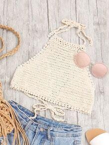Halter Neck Self Tie Back Crochet Top