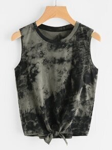Water Color Self Tie Front Tank Top