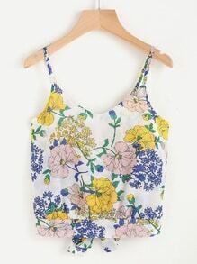 Floral Print Random Bow Open Back Cami Top