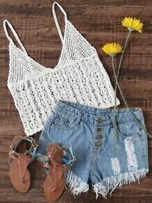 V Neckline Crochet Cami Top