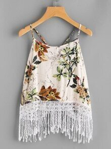 Palm Leaf Lace Tassel Hem Cami Top