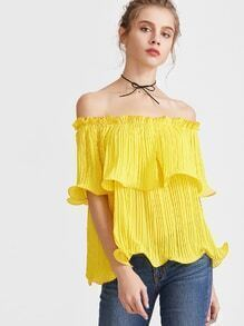 Yellow Frilled Pleated Off The Shoulder Top