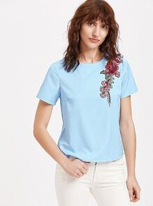 Blue Rose Patch Buttoned Keyhole Back Short Sleeve Top