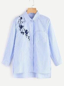 Vertical Striped Flower Embroidered Blouse