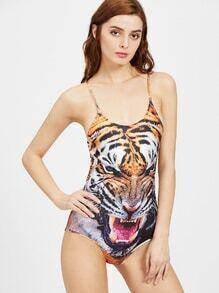 Tiger Print Slip Bodysuit