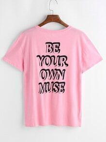 Camiseta de mangas cortas con estampado de emoji y letra - rosa