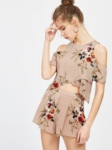 Apricot Florals Open Sholder Crop Spit Top With Shorts
