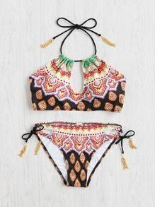 Tribal Print Chain Detail Halter Bikini Set