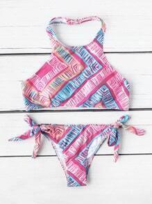 Sets de bikini de espalda abierta con estampado
