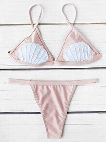 Contrast Shell Pattern Triangle Bikini Set