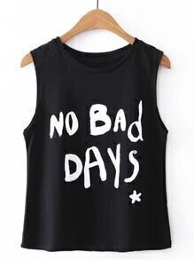 Slogan Print Sleeveless Tee
