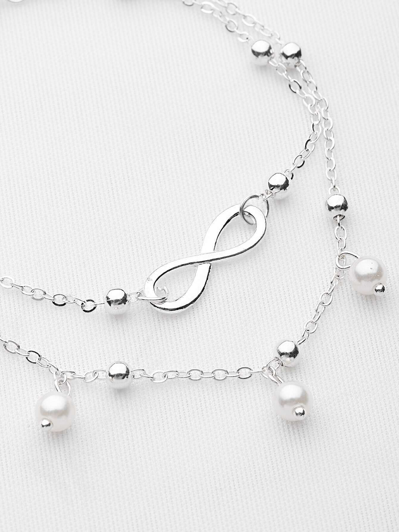 bracelet cheville cha ne de perles fausses french romwe. Black Bedroom Furniture Sets. Home Design Ideas
